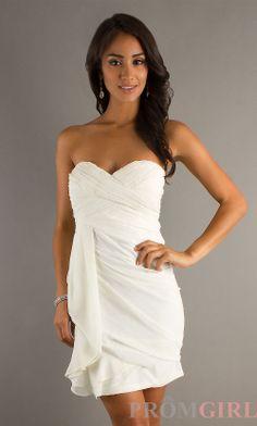 short white dresses | Short White Strapless Dress