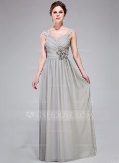 Bridesmaid Dresses - $119.99 - A-Line/Princess V-neck Floor-Length Chiffon Bridesmaid Dress With Ruffle Flower(s) (007037178) http://jjshouse.com/A-Line-Princess-V-Neck-Floor-Length-Chiffon-Bridesmaid-Dress-With-Ruffle-Flower-S-007037178-g37178