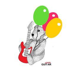 Happy Birthday Margot 💨🎂 🎈🎈🎈by Juan Ponte  #happybirthday #birthday #teddybear #teddy #balloon #balloons #thirteen #party #guitar #guitarra #guitarart #guitarbyjuanponte #illustration  #drawing #sketch  #surrealguitar #fender #stratocaster #fendersofinstagram #fendercustomshop #hardrockcafe #juanponte
