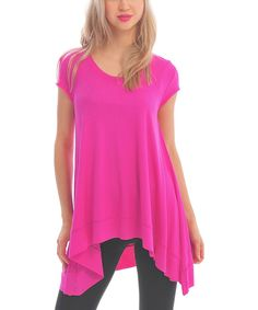 Take a look at the Zac Studio Fuchsia Scoop Neck Sidetail Tunic on #zulily today!