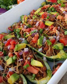 Beef Enchilada Zucchini Boats Clean Eating Recipe  http://cleanfoodcrush.com/beef-enchilada-zucchini-boats