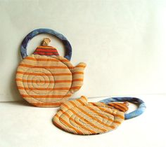 Quilted Coasters set of 2, Modern Textile Coasters, orange blue, table top