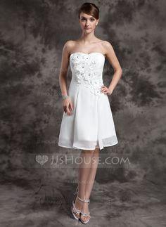 A-Line/Princess Sweetheart Knee-Length Chiffon Wedding Dress With Beading Flower(s) (002024072)