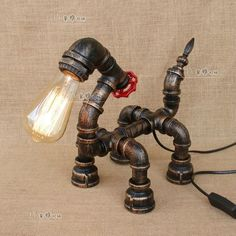 Animal Zodiac Pipe Desk Table Lamp E27 Light Industrial Home Lighting Fixture