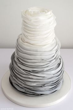 Grey Ombre Ruffled Cake | by Sugar Ruffles on TheCakeBlog.com