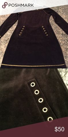 Boston Proper velour dress. Size Small. Black. Beautiful Boston Proper black velour dress. Gold threading and hardware. Size small. Worn once. Paid 89.00 from catalog. Boston Proper Dresses