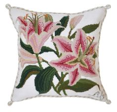 "Hand needlepointed luxury pillow feat. Botanical Lily on cream ground. Design stitched in 100% wool. Moire style backing fabric. Measures 16"" x 16""."