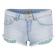 Superdry Women's Cali Bleach Denim Shorts - Sorbet Aqua (255 BRL) ❤ liked on Polyvore featuring shorts, bottoms, pants, blue, blue shorts, micro shorts, blue hot pants, mini jean shorts and blue denim shorts