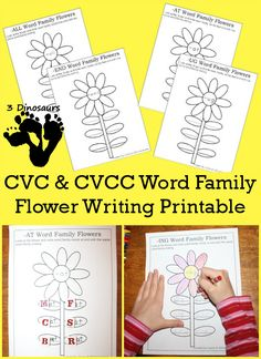 Free CVC & CVCC Word Family Writing Flowers - 52 different word ending: CVCC: -all, -ill, -ell, -ull, -ing, -ang, -ung, -ong, -ast, -ist, -ust, -ost, -est, -ack, -ick, -ock, -uck, -and, -end, -ind, -ond, -und, ink, -unk, -onk, -amp, -imp, -ump; CVC: -ad, -ag, -am, -an, -ap, -ar, at, -ed, -en, -et, -ig, -in, -ip, -it, -og, -op, -ot, -ow, -ox, -ug, -un,  -ut - 3Dinosaurs.com