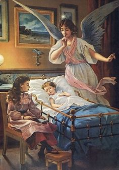 Items similar to Angel watches over ill child in crib. Angel Guardian at Bedside canvas print, angel art on Etsy Gardian Angel, Entertaining Angels, La Madone, I Believe In Angels, Angel Pictures, Angels Among Us, Angels In Heaven, Angel Art, Religious Art