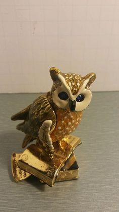 BEAUTIFUL ENAMELED HINGED OWL ON BOOKS TRINKET BOX