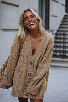 Khaki Open Front Button Down Knit Cardigan Coat Sweater Outfits, Fall Outfits, Fashion Outfits, Knit Jacket, Knit Cardigan, Oversized Cardigan Outfit, Mode Boho, Cable Knit Sweaters, Fashion Clothes