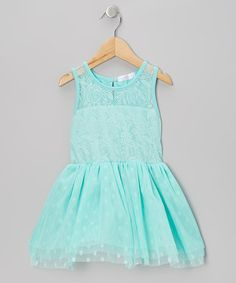 Look at this #zulilyfind! Turquoise Lace Polka Dot Tulle Dress - Infant, Toddler & Girls #zulilyfinds