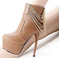 Sky-high Platform Stiletto Heels Ankle Boots with Golden Chains