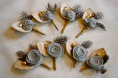 Set of 8 Felt Rose Boutonnieres  Custom colors by roundtherosies, $105.00