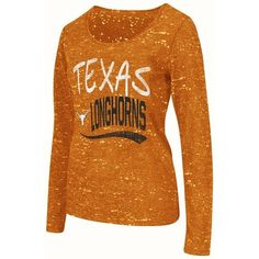 Juniors' Campus Heritage Texas Longhorns Splatter Tee ($11) ❤ liked on Polyvore featuring tops, t-shirts, med orange, graphic tees, long sleeve graphic t shirts, long sleeve crew neck t shirts, brown long sleeve t shirt and crew t shirt