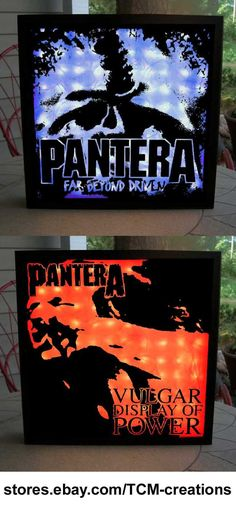 Pantera shadow boxes with LED lighting.  Dime Bag Darrell Abbot, Rex Brown, Phil Anselmo, Vinnie Paul Abbot, Metal Magic, Projects In The Jungle, I Am The Night, Power Metal, Cowboys From Hell, Vulgar Display Of Power, Far Beyond Driven, The Great Southern Trendkill, Reinventing The Steel, Damageplan