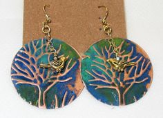 Earrings Vintaj embossed & painted copper rounds with GP birds