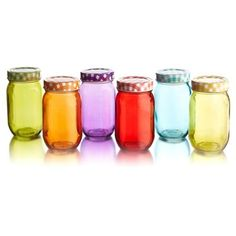 Check out this item at One Kings Lane! S/6 Rounded Colored Jars w/Lid