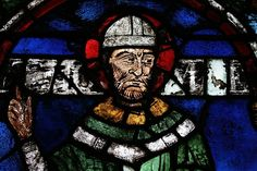 Stained glass window of Thomas Becket in Canterbury Cathedral.