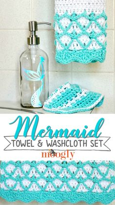 Mermaid Hand Towel and Washcloth Set - get the free crochet patterns PLUS the Mermaid Soap Dispenser DIY on Moogly!