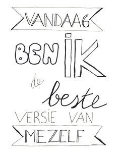 Gemaakt tijdens de workshop Handletteren Basis bij Sterrig. Hand Lettering Quotes, Brush Lettering, Handlettering For Beginners, Words Quotes, Wise Words, Handwriting Examples, Giving Quotes, Dutch Quotes, Short Words