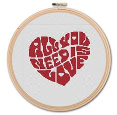 All You Need is Love ,  Counted Cross stitch , Pattern PDF, Instant download. Cross stitch pattern . Includes easy beginner instructions.