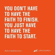 Do you have faith to start? #divinedirection #lifechurch #sundaymorning #sundayservice #church