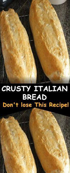Try this crusty Italian bread recipe Italian Bread Recipes, Artisan Bread Recipes, Bread Machine Recipes, Easy Bread Recipes, Baking Recipes, Best Crusty Italian Bread Recipe, Bread Machine Italian Bread Recipe, Bread Flour Recipes, Rustic Italian Bread