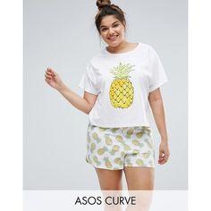ASOS CURVE Pineapple T-Shirt & Shorts Pyjama Set (170 DKK) via Polyvore featuring multi, plus size and asos curve