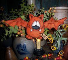 "Primitive Halloween Orange Vampire Bat Bear 4"" Doll Vtg Patti's Ratties Ornie"
