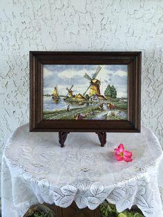 Delfts Polychroom Tableau 6-Tile Delft by GuamAntiquesNstuff