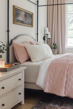 Embroidered Velvet Quilt via BHG Live Better influencer Jenna Sue Design. #quilt #bedding #bed #bedroom #blush #pink #bedroomideas #beddingideas #masterbedroomideas #cozybedroom #beddingstyling #beddinginspiration