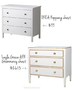 How to make a $100 IKEA Koppang nighstand look like a $2600 Layla Grace Grammercy chest: http://emilyaclark.com/2013/09/our-white-gold-ikea-nightstand-makeover.html