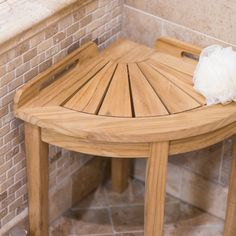 Belham Living Teak Corner Shower Stool - Shower Seats at Hayneedle