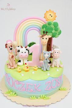 Tort na roczek dla dziewczynki ze zwierzątkami gdańsk