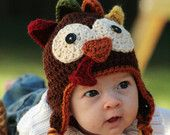 Turkey Crochet Hat with Overnight Express Mail Shipping