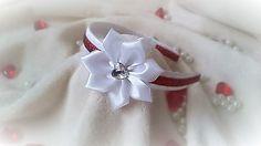 headband - white/red flower