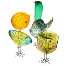 Extremely rare complete collection of the five Glass birds by Pianon and Pelzel for Vistosi Murano, 1960-61.
