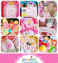 Princess Party Printable - Princess Birthday -Cinderella - Belle - Ariel -  Tiana - Rapunzel -Huge Party Set by Amanda's Parties TO GO. $29.00, via Etsy.