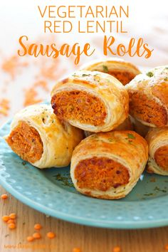 Red Lentil Sausage Rolls -Vegetarian Red Lentil Sausage Rolls - To the Sausage Roll lovers among us - gather and listen closely. These Chorizo Sausage Rolls are about to change your life for the better. Meat Appetizers, Appetizers For Party, Appetizer Recipes, Protein Snacks, Veggie Recipes, Vegetarian Recipes, Vegetarian Party Foods, Easy Vegetarian Appetizers, Red Lentil Recipes