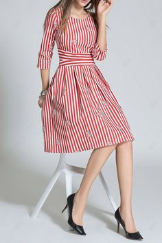 Flower Print Striped A Line Dress