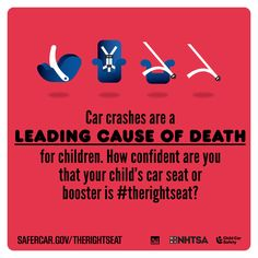 Car crashes are a leading cause of death for children. How confident are you that your child's car seat or booster is #TheRightSeat? - #isaluteCPS