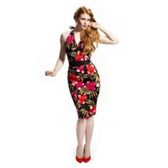 Tiki Bombshell Pencil Dress by Voodoo Vixen #InkedShop #tiki #pencildress #dress #floral #style #vintage #fashion