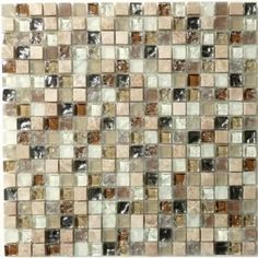 "Oats Cream/Beige 1/2'' x 1/2'' Glass and Stone ""Glossy, Frosted & Unpolished"" Tile"