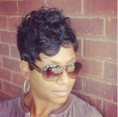 Stacy J-Reed is a Master Stylist located in Jackson/Flowood Ms. She specializes in razorcut quick weaves and precision short cuts. Short Sassy Hair, Cute Hairstyles For Short Hair, Pretty Hairstyles, Short Hair Cuts, Pixie Cuts, Curly Short, Black Hairstyles, Love Hair, Great Hair