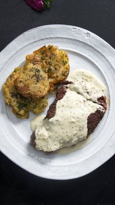Recipe with video instructions: Steak & potatoes... and cream sauce. Enough said. Ingredients: For the steak:, 2 (10 oz) ribeye 1 inch thick, sea salt , freshly ground black pepper, 3...