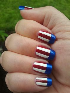 red/white/blue nails . Base coat white ,  cut tape strips to make lines and then paint nail with  red polish. Finish ends with blue polish. Used blue painters tape instead of scotch tape. Worked out okay but need more practice.