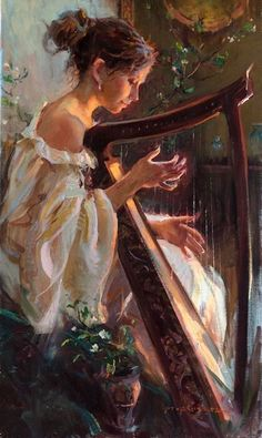Beautiful Lady Playing Harp by Daniel F. Gerhartz - painting  Music Inspired Art