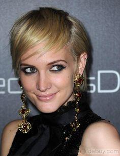 2012最新ショートヘア流行アシュリー?シンプソンヘアスタイル100%ヒューマンレミヘアストレートブロンドウィッグ